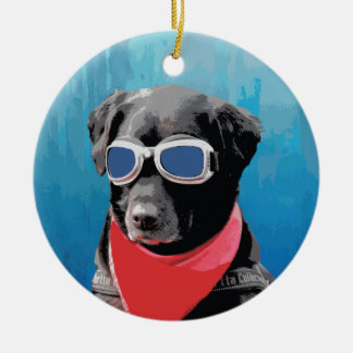 Cool Dog Black Lab Red Bandana Blue Goggles Ceramic Ornament