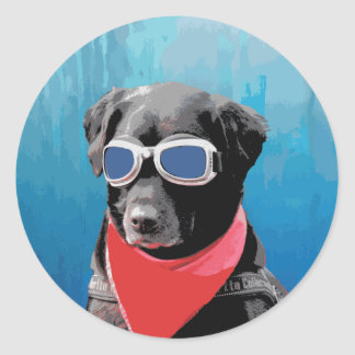 Cool Dog Black Lab Red Bandana Blue Goggles Classic Round Sticker