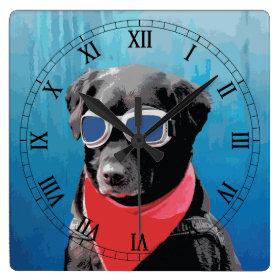 Cool Dog Black Lab Red Bandana Blue Goggles Clock
