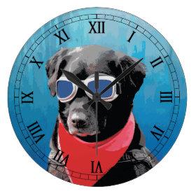 Cool Dog Black Lab Red Bandana Blue Goggles Wallclocks