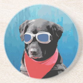 Cool Dog Black Lab Red Bandana Blue Goggles Coasters
