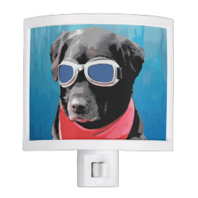 Cool Dog Black Lab Red Bandana Blue Goggles Nite Lights