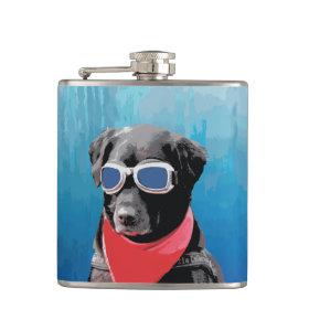 Cool Dog Black Lab Red Bandana Blue Goggles Hip Flasks