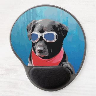 Cool Dog Black Lab Red Bandana Blue Goggles Gel Mouse Pad