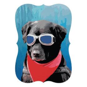 Cool Dog Black Lab Red Bandana Blue Goggles Personalized Invite
