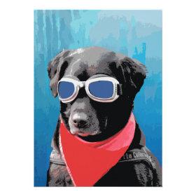 Cool Dog Black Lab Red Bandana Blue Goggles Custom Invitations