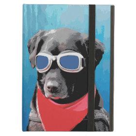 Cool Dog Black Lab Red Bandana Blue Goggles iPad Air Cases