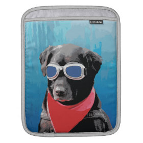 Cool Dog Black Lab Red Bandana Blue Goggles Sleeves For iPads