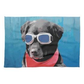 Cool Dog Black Lab Red Bandana Blue Goggles Hand Towel