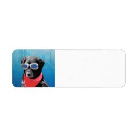 Cool Dog Black Lab Red Bandana Blue Goggles Custom Return Address Labels