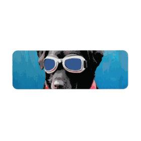 Cool Dog Black Lab Red Bandana Blue Goggles Return Address Labels