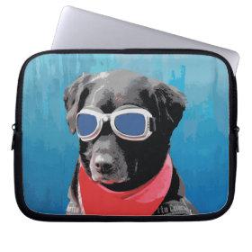 Cool Dog Black Lab Red Bandana Blue Goggles Computer Sleeves