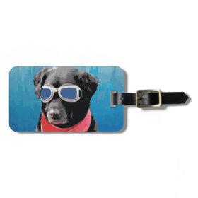 Cool Dog Black Lab Red Bandana Blue Goggles Luggage Tags