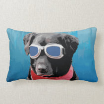 Cool Dog Black Lab Red Bandana Blue Goggles Lumbar Pillow