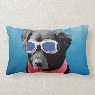 Cool Dog Black Lab Red Bandana Blue Goggles Lumbar Pillow