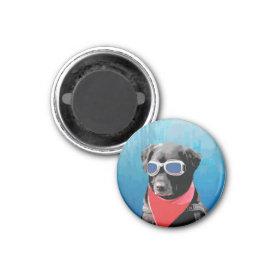 Cool Dog Black Lab Red Bandana Blue Goggles Fridge Magnet