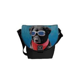 Cool Dog Black Lab Red Bandana Blue Goggles Courier Bag
