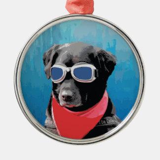Cool Dog Black Lab Red Bandana Blue Goggles Metal Ornament