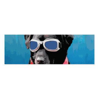 Cool Dog Black Lab Red Bandana Blue Goggles Mini Business Card