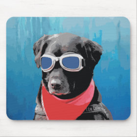 Cool Dog Black Lab Red Bandana Blue Goggles Mousepads