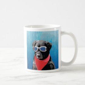 Cool Dog Black Lab Red Bandana Blue Goggles Mug