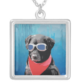 Cool Dog Black Lab Red Bandana Blue Goggles Necklace