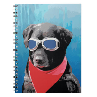 Cool Dog Black Lab Red Bandana Blue Goggles Note Book