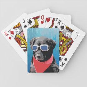 Cool Dog Black Lab Red Bandana Blue Goggles Poker Cards