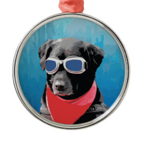 Cool Dog Black Lab Red Bandana Blue Goggles Christmas Tree Ornaments