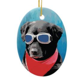 Cool Dog Black Lab Red Bandana Blue Goggles Ornament