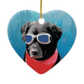 Cool Dog Black Lab Red Bandana Blue Goggles Ornaments