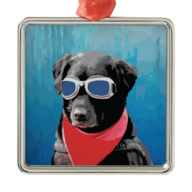 Cool Dog Black Lab Red Bandana Blue Goggles Christmas Tree Ornament