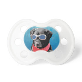 Cool Dog Black Lab Red Bandana Blue Goggles Pacifier