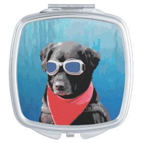 Cool Dog Black Lab Red Bandana Blue Goggles Compact Mirror