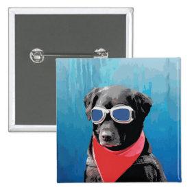 Cool Dog Black Lab Red Bandana Blue Goggles Pin