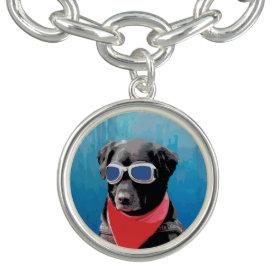 Cool Dog Black Lab Red Bandana Blue Goggles Bracelets