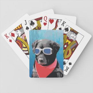 Cool Dog Black Lab Red Bandana Blue Goggles Playing Cards