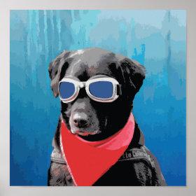 Cool Dog Black Lab Red Bandana Blue Goggles Print