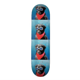 Cool Dog Black Lab Red Bandana Blue Goggles Skateboards