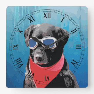 Cool Dog Black Lab Red Bandana Blue Goggles Square Wall Clock
