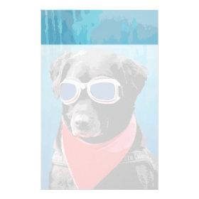 Cool Dog Black Lab Red Bandana Blue Goggles Customized Stationery