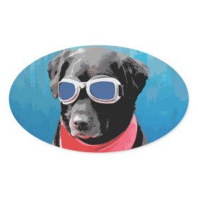 Cool Dog Black Lab Red Bandana Blue Goggles Stickers