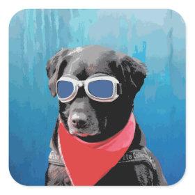Cool Dog Black Lab Red Bandana Blue Goggles Square Stickers