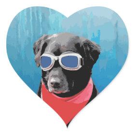 Cool Dog Black Lab Red Bandana Blue Goggles Heart Sticker