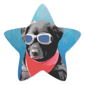 Cool Dog Black Lab Red Bandana Blue Goggles Star Sticker