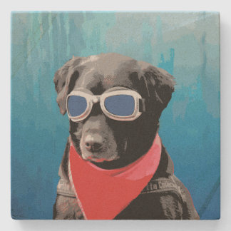 Cool Dog Black Lab Red Bandana Blue Goggles Stone Coaster