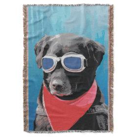 Cool Dog Black Lab Red Bandana Blue Goggles Throw