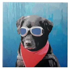 Cool Dog Black Lab Red Bandana Blue Goggles Tile
