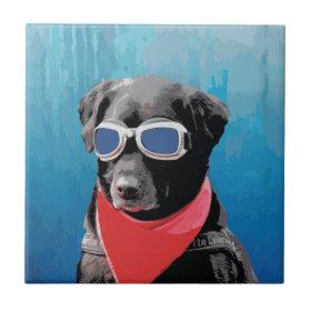 Cool Dog Black Lab Red Bandana Blue Goggles Ceramic Tile