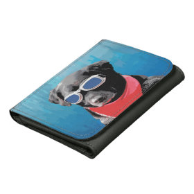 Cool Dog Black Lab Red Bandana Blue Goggles Wallets